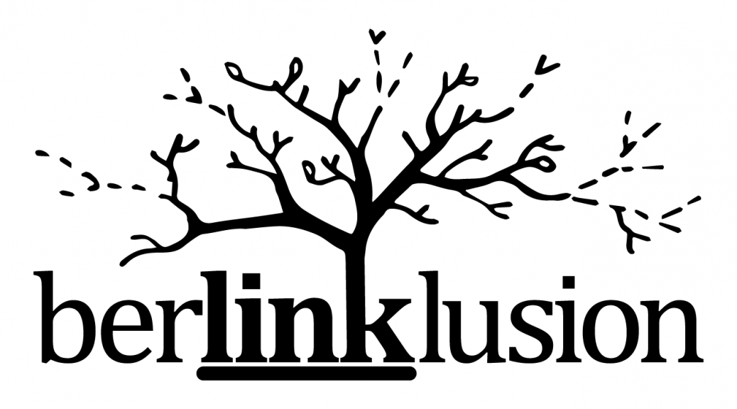The Berlinklusion logo. Berlinklusion is a word play of Berlin link (or link) and inclusion. There is a tree that grows out of this word. It represents the existing institutions, associations, persons and structures that unfold in new and uncertain ways by dealing with inclusion and networking, represented graphically by a few branches on this tree which are drawn with perforated lines.